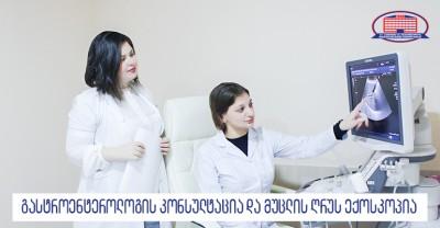 გასტროენტეროლოგის კონსულტაცია და მუცლის ღრუს ექოსკოპია